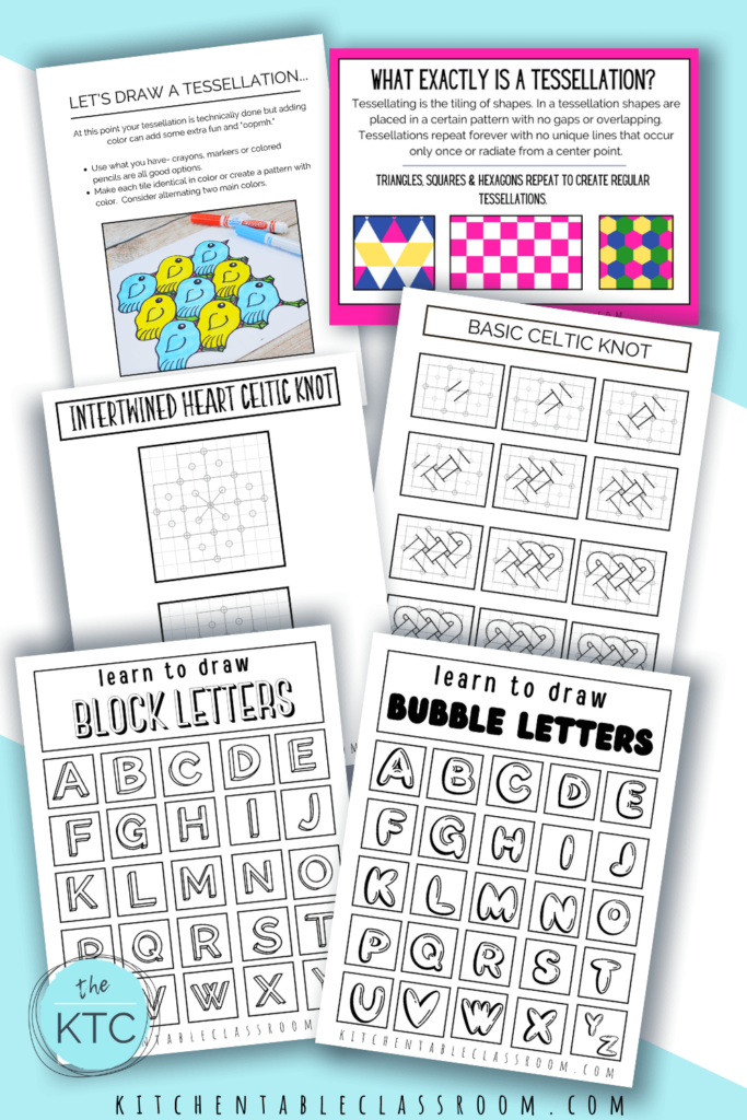 Tessellations, Celtic knots, and lettering are all complete pencil drawing ideas for kids. Complete drawing lessons include printable guides and downloadable video lessons.