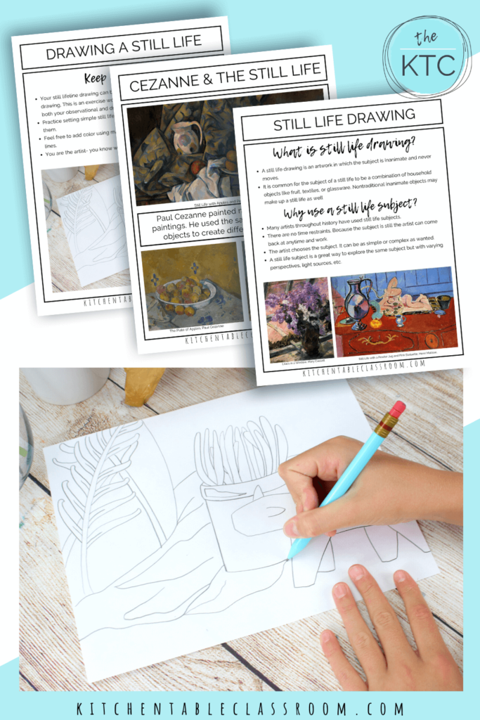 Still life drawing is a great pencil art lesson for kids.