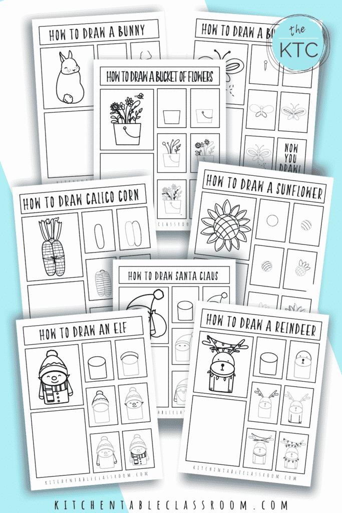Step by step drawing guides are an easy pencil drawing idea for kids.