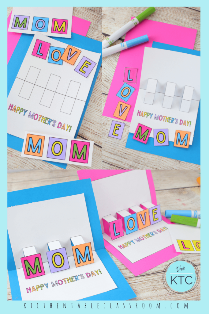 Printable pop up cards for Mother's Day for your kids to print and color