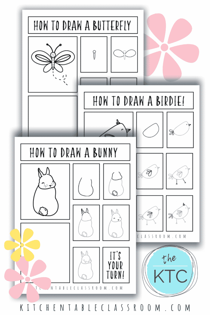 How to draw a butterfly, how to draw a bird, and how to draw a bunny are all included this set of spring season drawing guides.