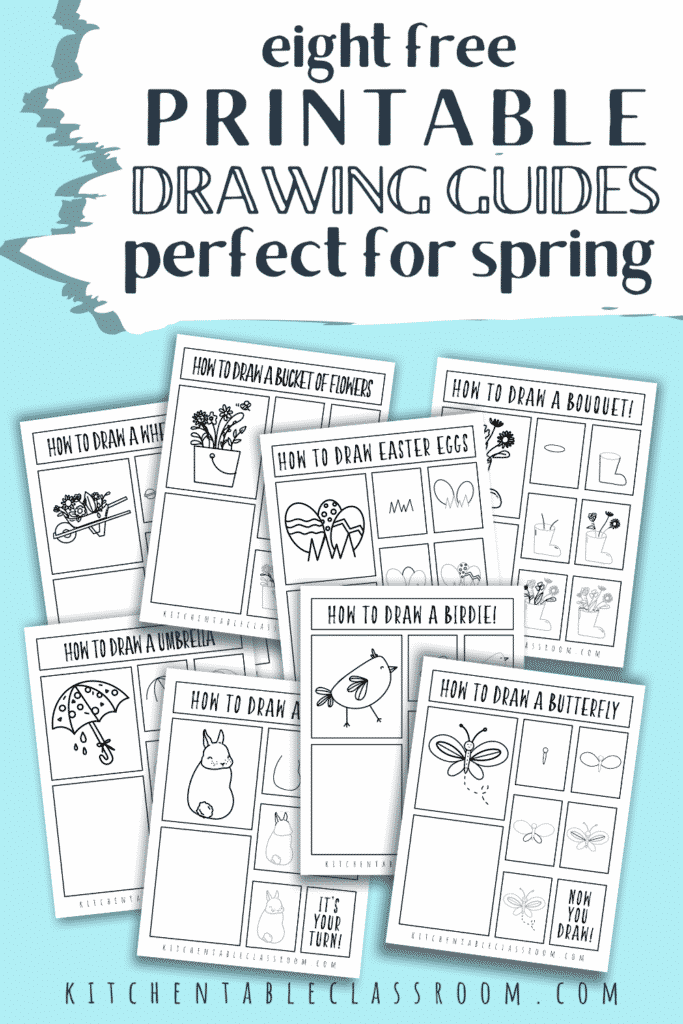 Eight printable spring season drawing guides are free for you to print and enjoy with your students!