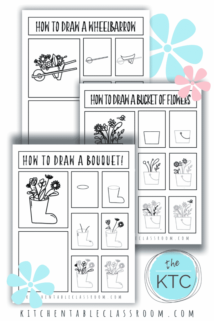How to draw a wheelbarrow, how to draw a bucket of flowers, and how to draw a bouquet are all included in these spring season drawing prompts