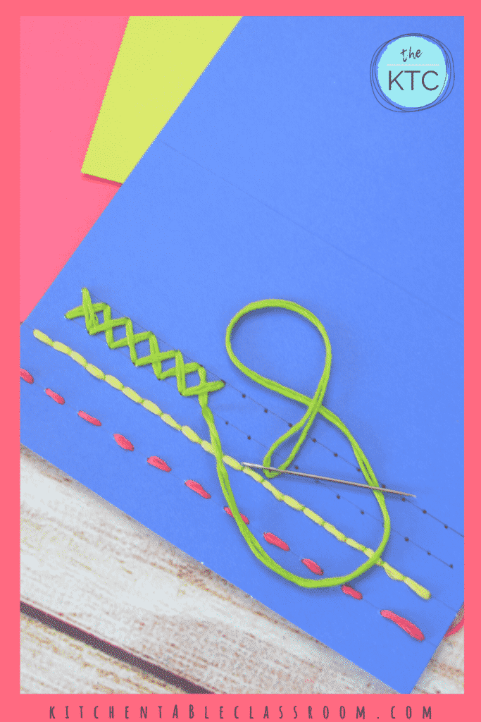 Learn easy stitches on paper- learn the running stitch, the blanket stitch, cross stitch, and the back stitch.