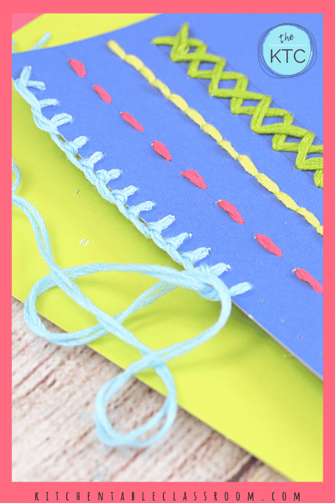 Learn easy stitching on paper- learn the running stitch, the blanket stitch, cross stitch, and the back stitch.