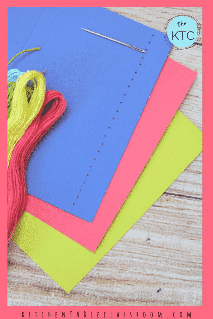 Stitching on cards- learn the running stitch, the blanket stitch, cross stitch, and the back stitch.