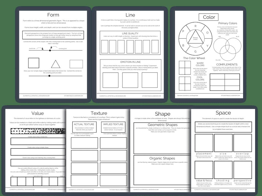 printable elements of art worksheets for kids