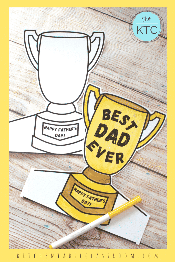 Printable Father's day trophy prints on black and white for your kids to color