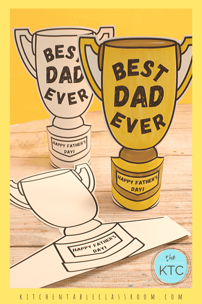 color your own trophy for Dad