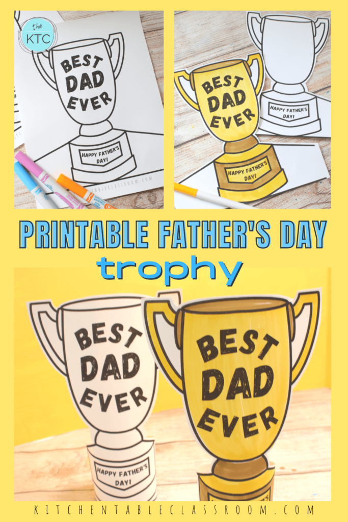 Printable Father's Day trophy Father's Day craft