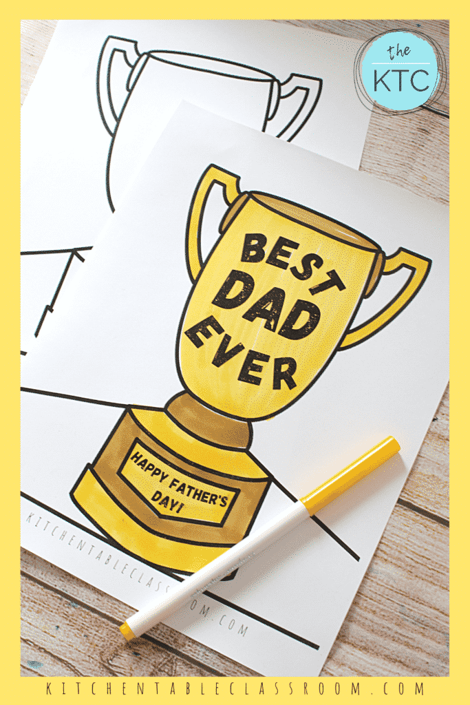 printable trophy for Dad or any other special person for Father's Day