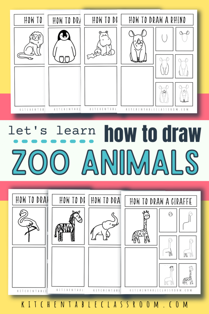 Learn how to draw a zoo animal with these 8 free step by step drawing guides.