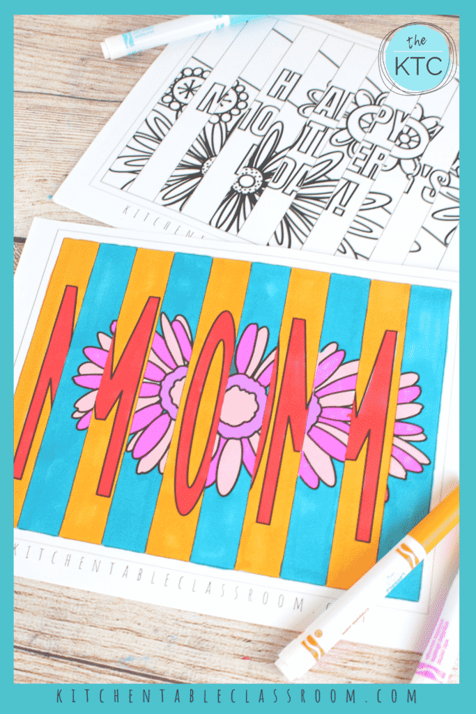 Color your printable Mother's Day agamograph before folding.