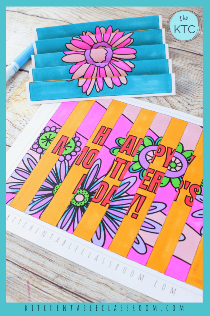 Color your printable Mother's Day agamograph before folding!