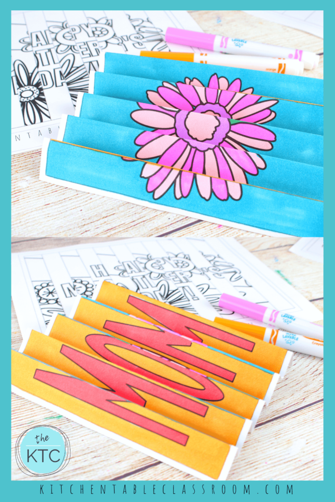 Agamographs fold up to create one of two images- flowers or a note to Mom!
