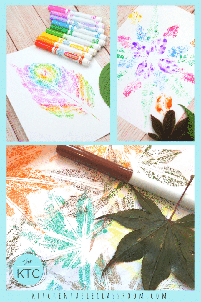 printing for kids with leaves using markers and watercolor paints