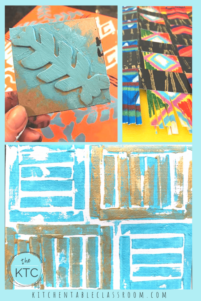 Adinkra prints, make your own paper kente cloth, and rubber band printmaking