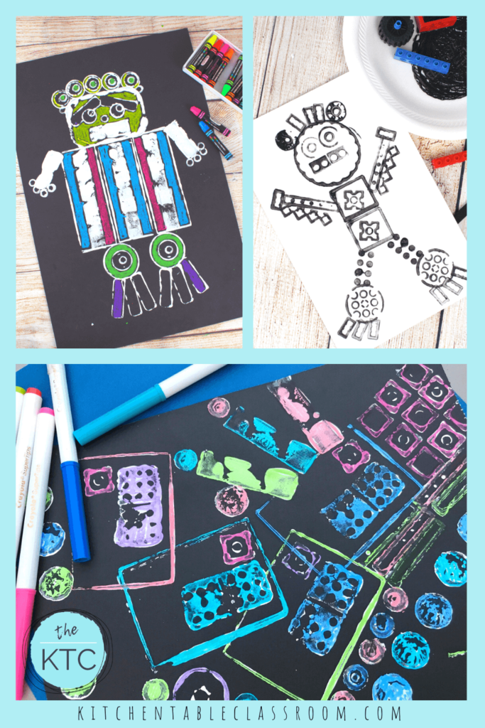 Printmaking ideas for kids using Lego and other found objects