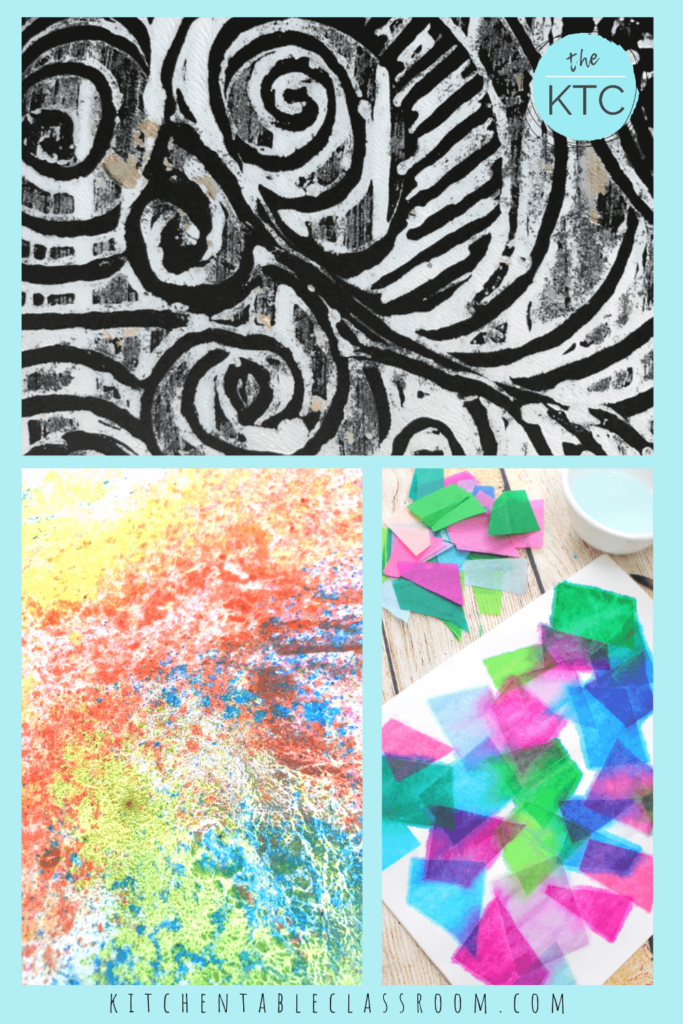 Foil printmaking, chalk prints and tissue paper printmkaing