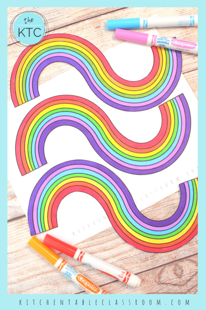 Each rainbow template comes in black and white for you to color. This printable rainbow is a unique wave shape.