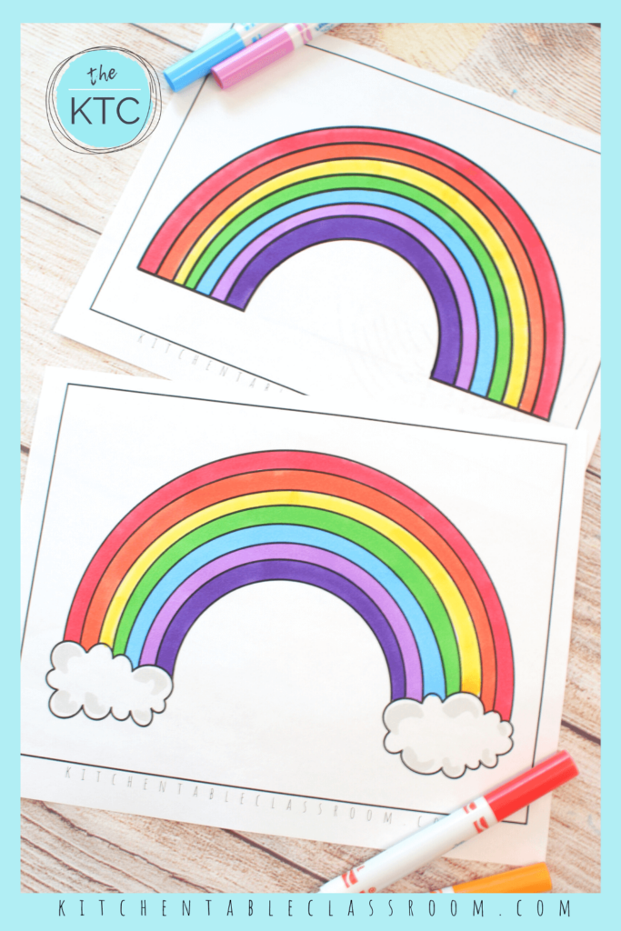 Choose from printable rainbow templates with or without clouds.