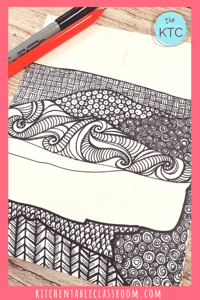 Zentangle landscape is filled with pattern
