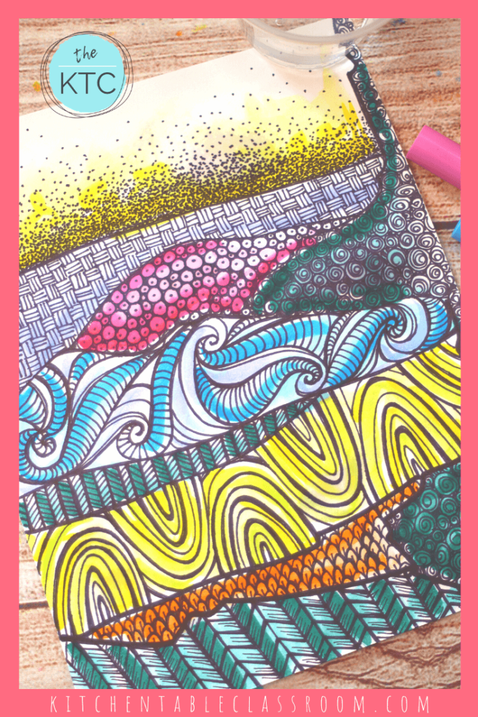 This Zentangle landscape has a wash of color added with washable marekrs and water