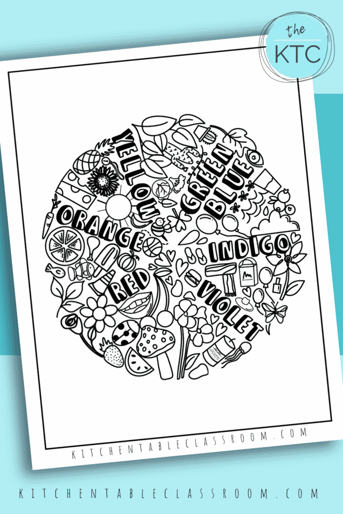 Learn about the color wheel with this fun hand drawn color wheel coloring page.