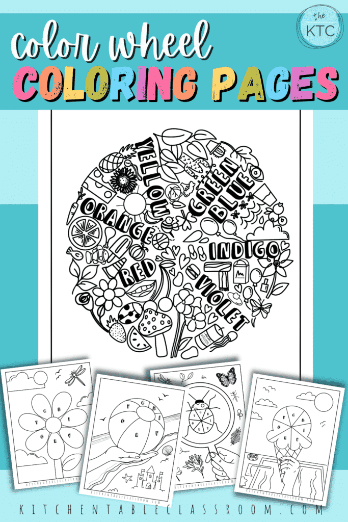 Five free printable colors coloring pages are a great way to reinforce learning about the color wheel.
