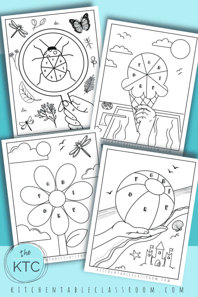 Five free coloring pages for colors are yours to print and use with your kids as they learn about the color wheel.