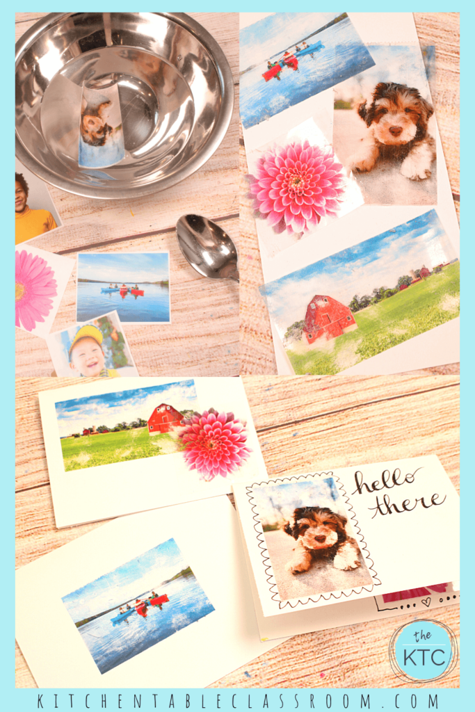 Packing tape transfers are an easy way for kids to incorporate photos into their art.