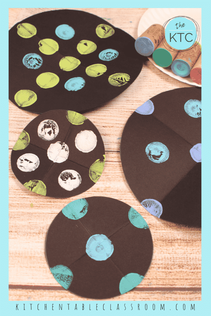 Polka dot mandalas made with a found object printmaking process for kids