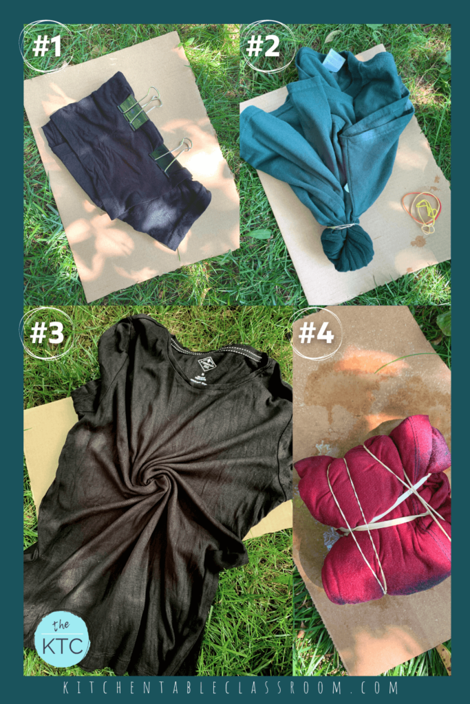 Bleached tie dye can be effective with a variety of folding and tying techniques including rubber bands and even office clips.
