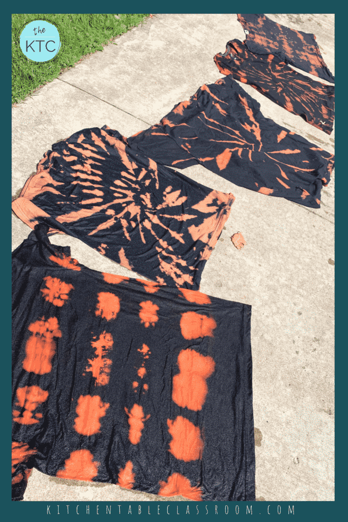 Bleach tie dying removes the color of dark shirts which is the opposite of typical tie dye, which deposits color.
