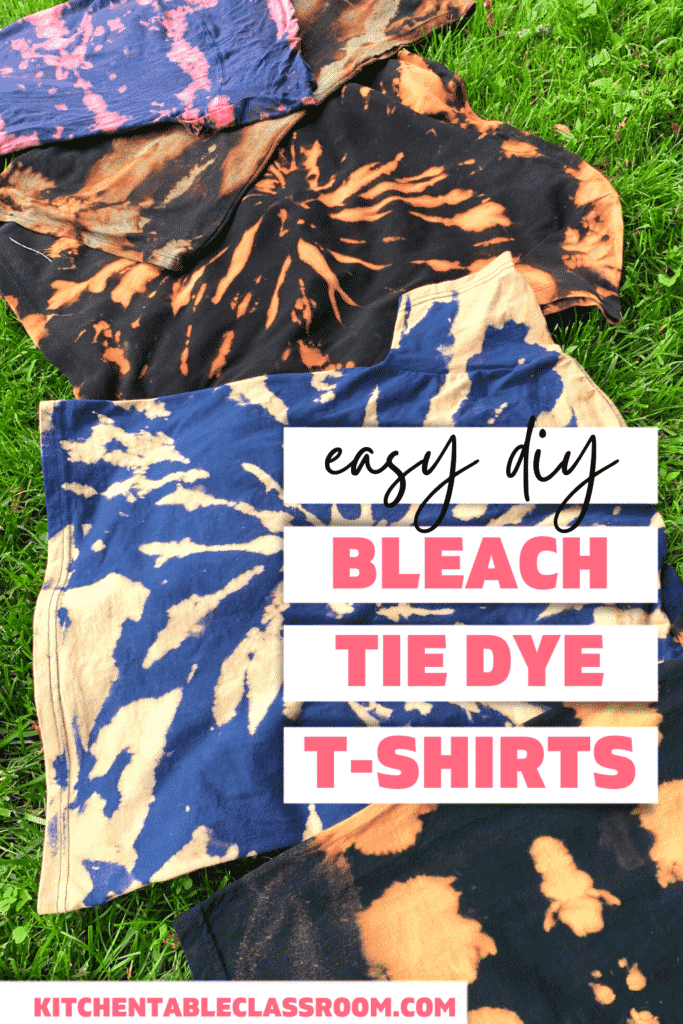 Bleached tie dye is a fun and easy tie dye process for kids and adults!