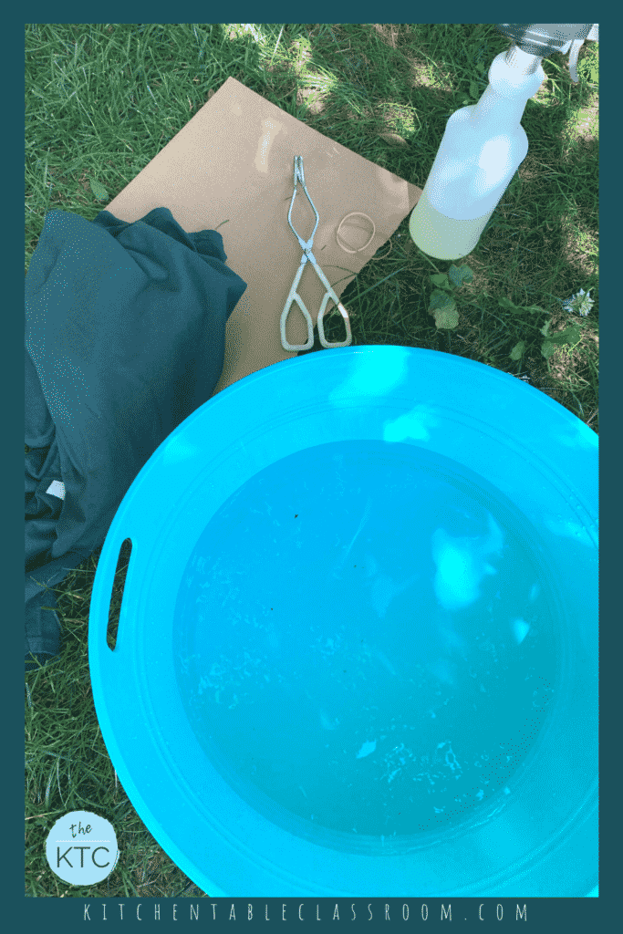 Supplies for bleached tie dye include dark t-shirts or other textiles, rubber bands or clips, tongs, and a spray bootle of diluted bleach.