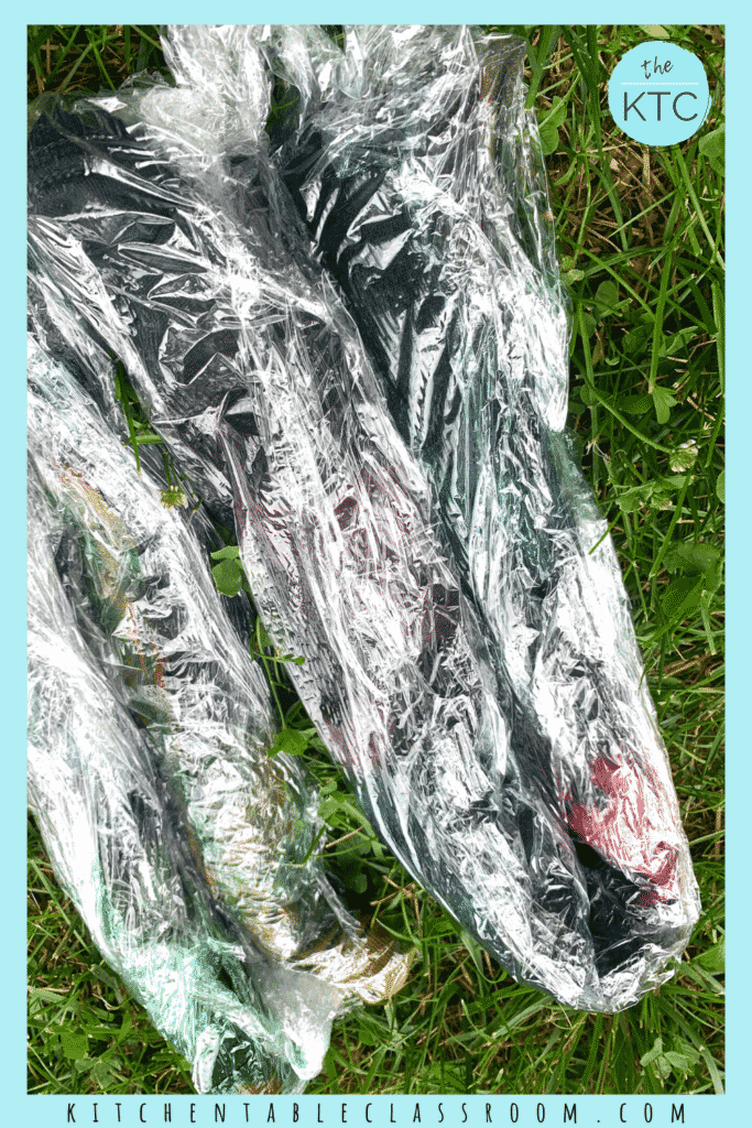 Wrap tie dyed shirts in plastic while allowing the dye to take action.