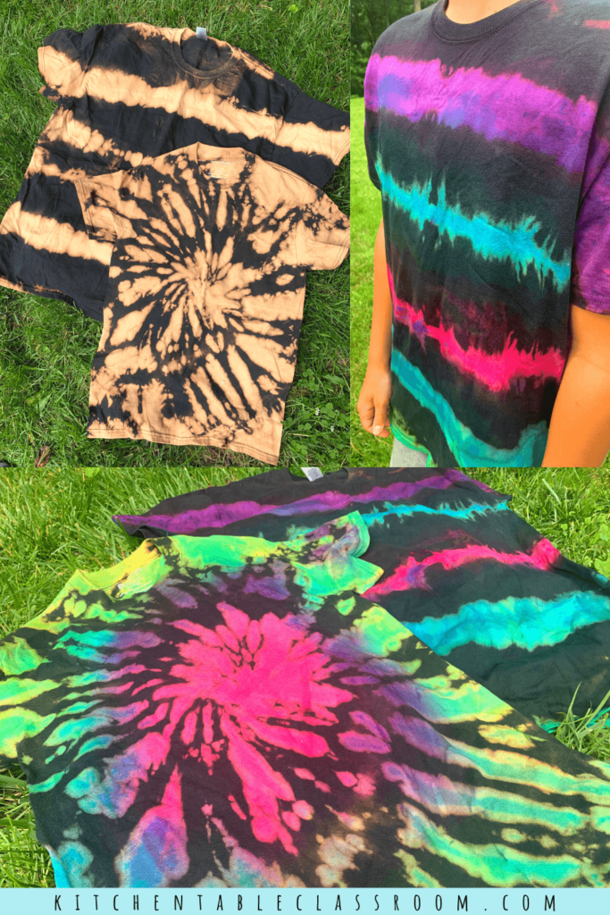 Reverse tie dying is an easy tie dye process that results in bright colored tie dye design on a black background.