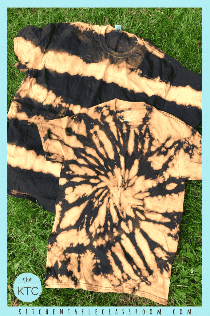 Reverse tie dye begins with dark fabric that has had areas beached in a tie dye design.