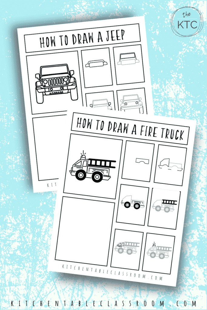 Learn how to draw a Jeep and how to draw a fire truck with these fun how to draw vehicles drawing guides.