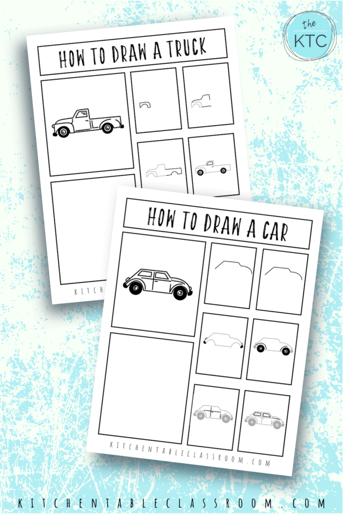 Learn how to draw a truck and how to draw a car with these fun how to draw vehicles drawing guides.