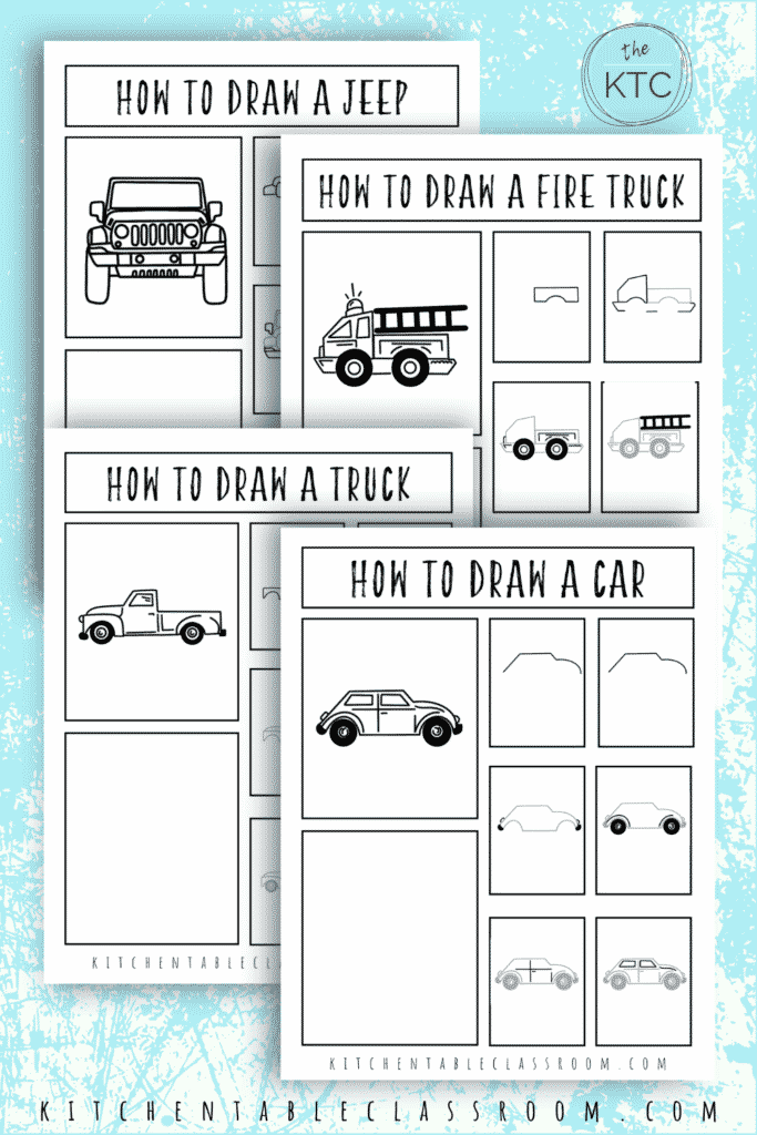 How to draw a truck, how to draw a car, how to draw a jeep, and how to draw a fire truck free printable drawing guides