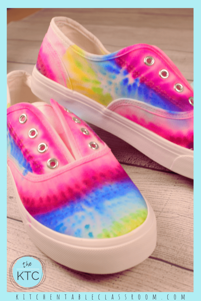 Sharpie shoes look like real tie dye designs but use only permanent markers for color!