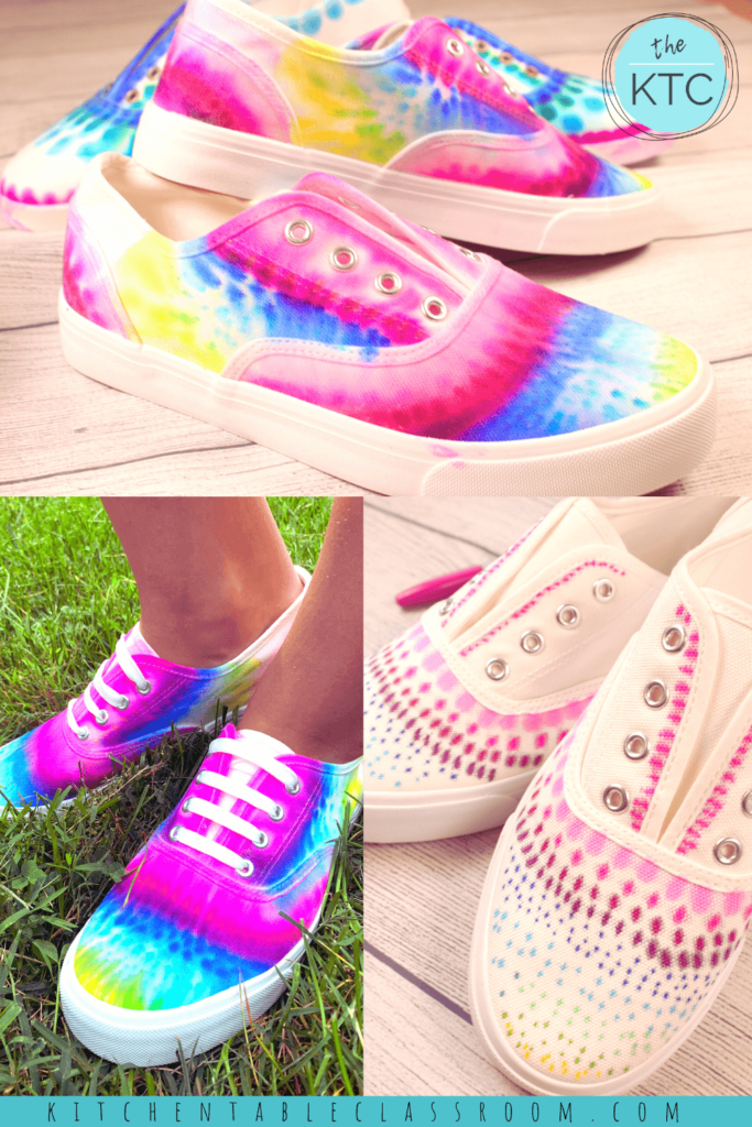 Learn how to tie dye shoes with this easy permanent marker tie dye method!