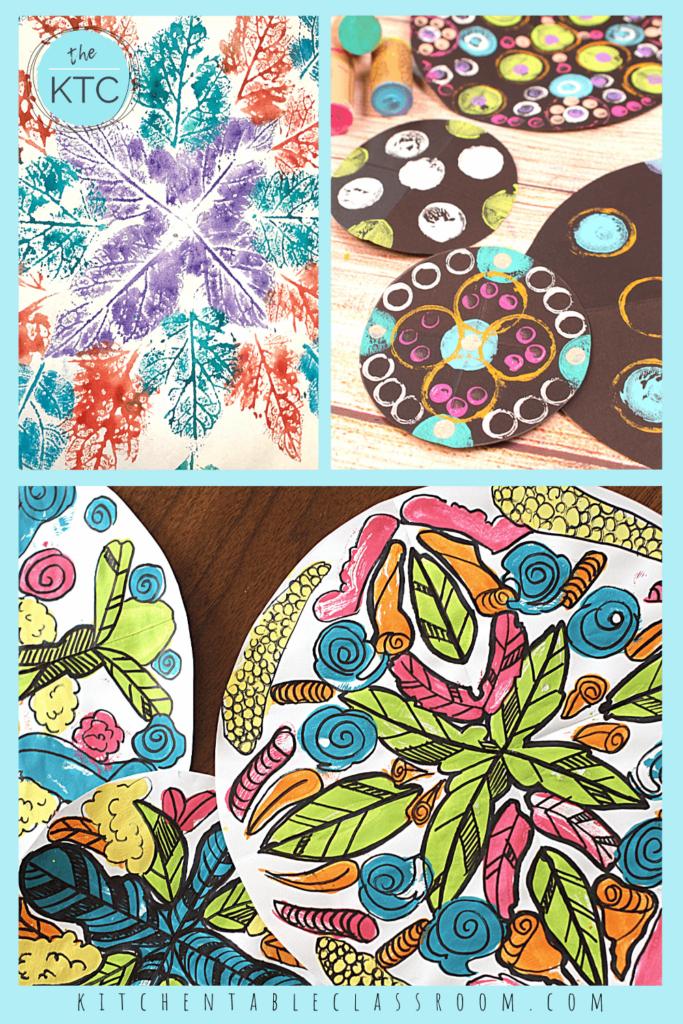 Easy mandala art ideas for beginners include leaf mandalas, polka dot mandalas and floral blot mandala art.