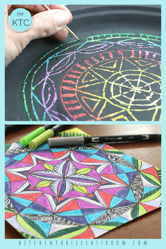 Easy mandalas for kids to make include a hand drawn mandala that starts with a printable template and a paper plate mandala.