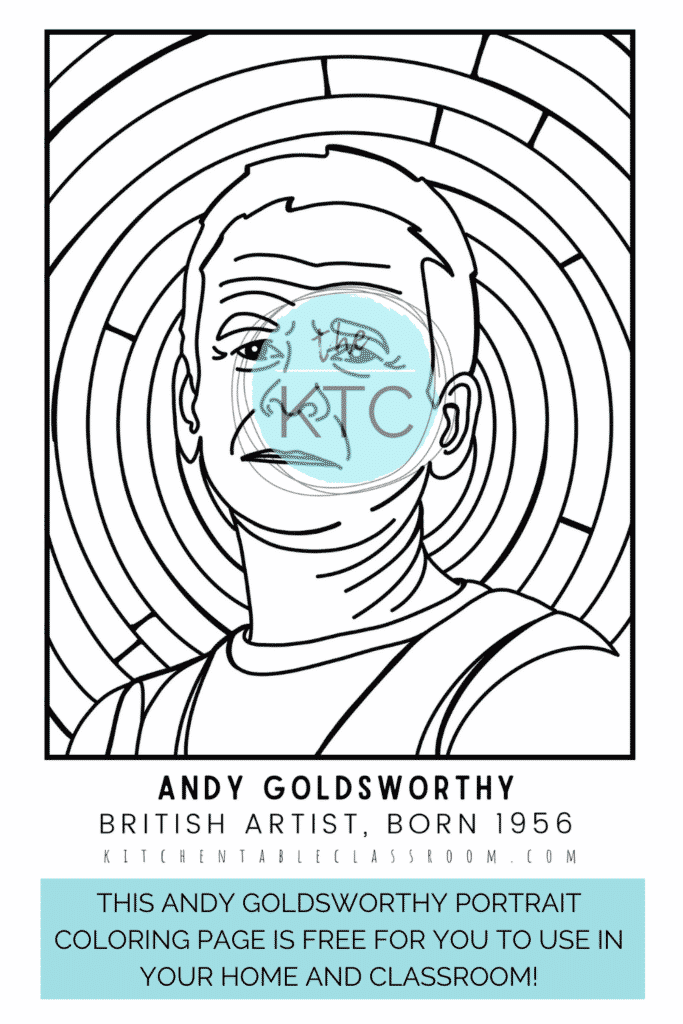 This free Andy Goldsworthy coloring page brings the artist to life.