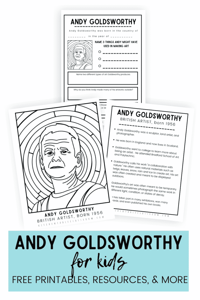 Andy Goldsworthy for kids printables include and Andy Goldsworthy coloring page, Andy Goldsworthy biography facts, and a one page Andy Goldsworthy artist study.