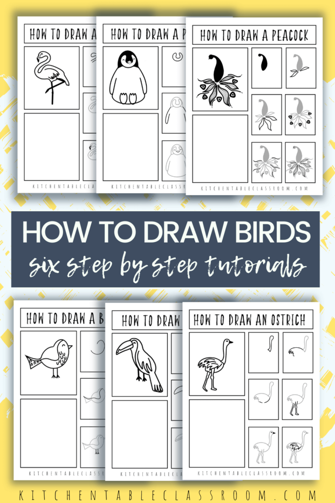 Learn how to draw a bird step by step with these easy step by step printable drawing tutorials.