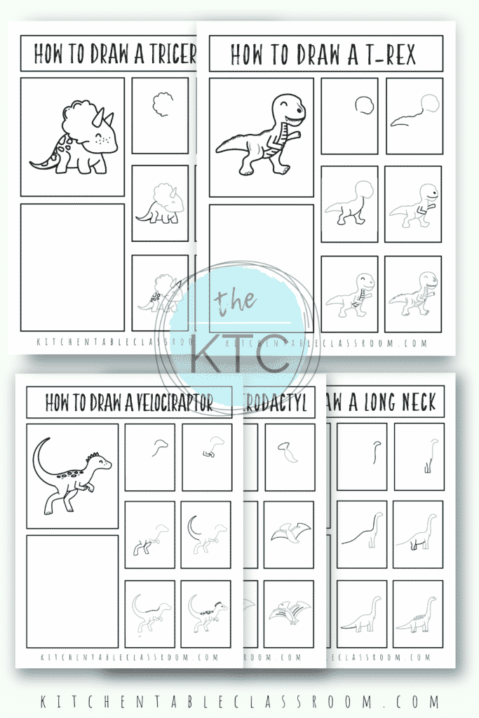 Learn how to draw a dinosaur with these printable dinosaur drawing guides for you to use in your home or classroom!